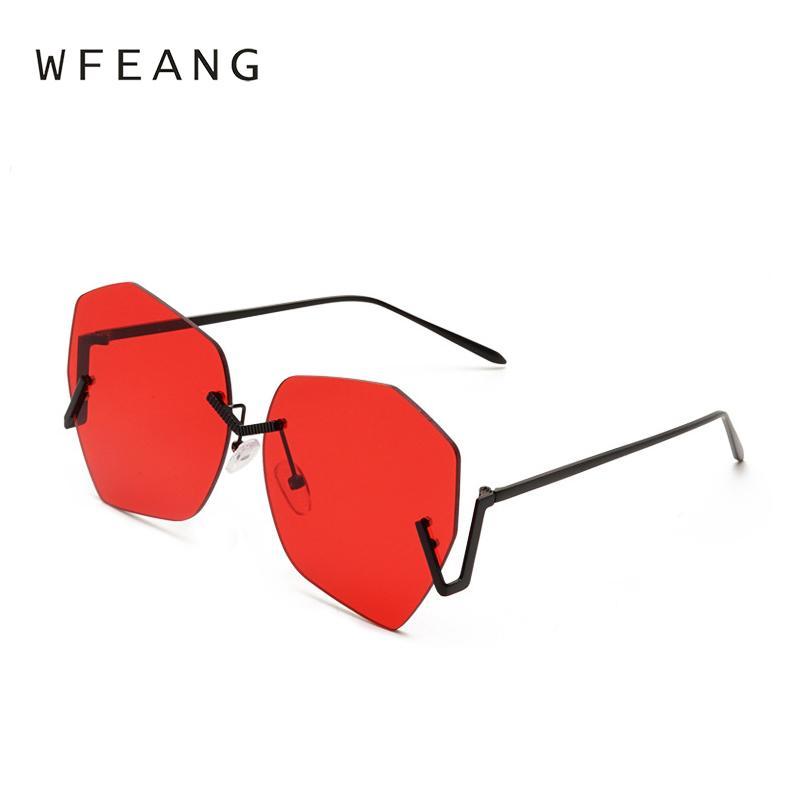 Compre WFEANG Gafas De Sol Sin Montura Graduadas Mujeres Diseñador De La  Marca De Lujo Gafas Redondas De Gran Tamaño Para Mujer Gradient Shades Gafas  ... df30855ad994