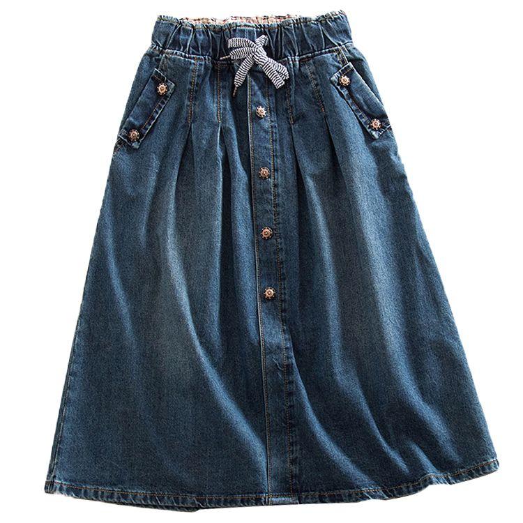 e6ba42c6f2d42 2019 New Women Skirts Summer Lace Up Elastic Waist Denim Skirts Loose  Casual Female A-Line Skirts Jeans Saia Faldas Plus Size