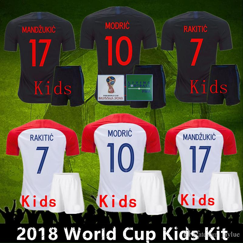 sale retailer cba5f 18362 Top quality 2018 World Cup Kids Kit VIDA REBIC RAKITIC Hrvatska LOVREN  Soccer Jersey Luka modric Voetbal croazia Football Shirts MANDZUKIC