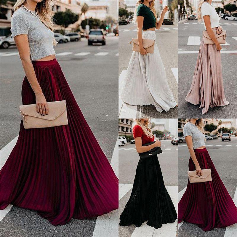 Горячие женские летние макси-юбки с высокой талией плиссированные длинные повседневные юбки-качели A-line
