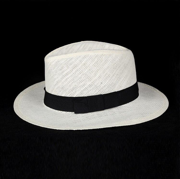 c81de51b470 Unisex Fashion Summer Straw Hat Fedora Beach Sun Hat Solid White Classic  Jazz Panama Hat Straw Hats For Women Men Wedding Hats Baby Hats From  Minnier