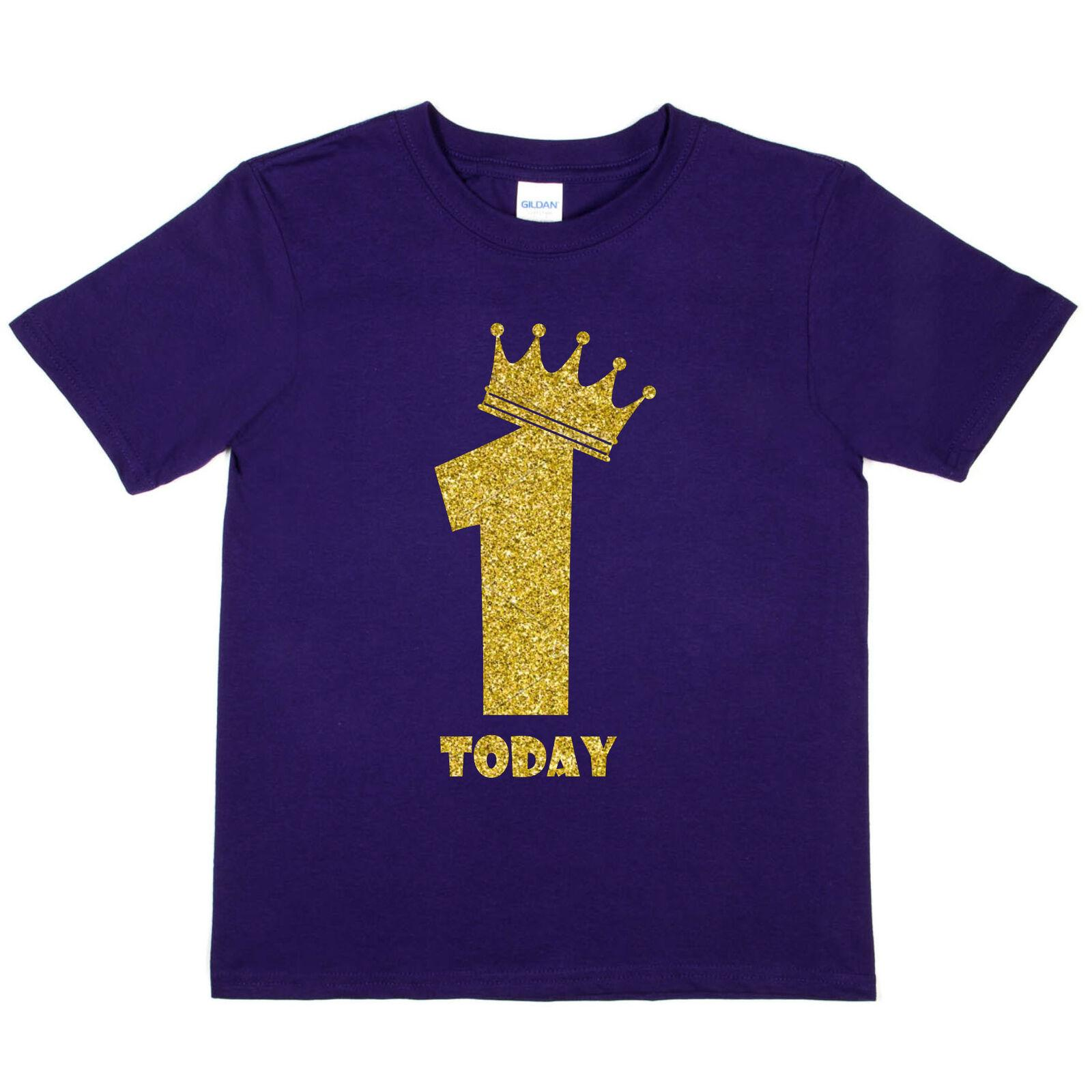 4e79e6e8ba Kids One Today Birthday T-shirt In Gold Glitter Happy 1st Birthday Gift  Funny free shipping Casual Tshirt