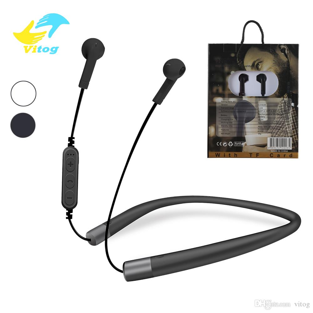 TF300 Sports Bluetooth Headset Headphones Wireless Earphone Neckband Stereo  earbuds Support TF Card With retail package