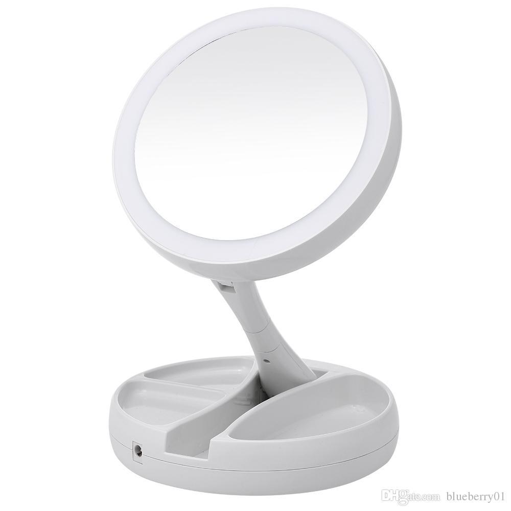 56678259f Compre Espejo De Maquillaje Iluminado Con LED Portátil Vanity Compacto  Maquillaje Espejos De Bolsillo Espejo De Mano Cosmético Vanity 10X Lupas  Nuevo A ...