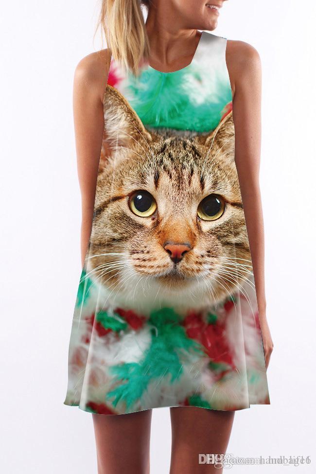 9e307a2ff6fc Vestido de mujer Cuello redondo de verano Sling sexy Sin mangas Envoltura  de cadera Elegante dama flora impresa Estampado de gato Falda ajustada ...