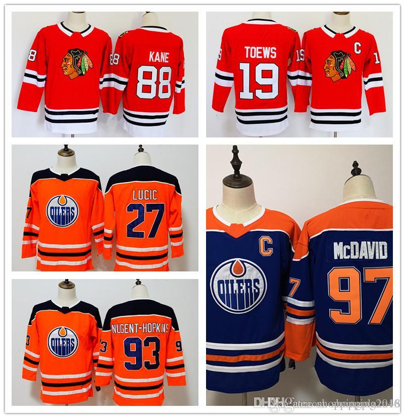 54fc5936776 Women's 88 Patrick Kane 19 Jonathan Toews 97 Connor McDavid 27 Milan Lucic  93 Nugent-Hopkins Embroidered Ice Hockey Jerseys Stitched Lo Chicago  Blackhawks ...