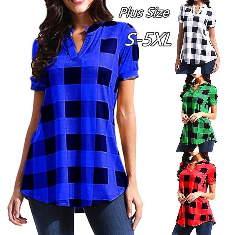 c9badd9314f1 2019 Women Plaid Blouse Short Sleeve V Neck T Shirt Loose Grid T Shirt Tops  Oversized Pullover Shirts Casual Ladies Blouses Tees Summer 2019 From ...