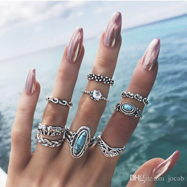 2019 9pcs/Set Boho Elephant Flower Wave Carved Knuckle Midi Finger Rings Set for Women Antique Silver Rings Jewelry Fashion accessories