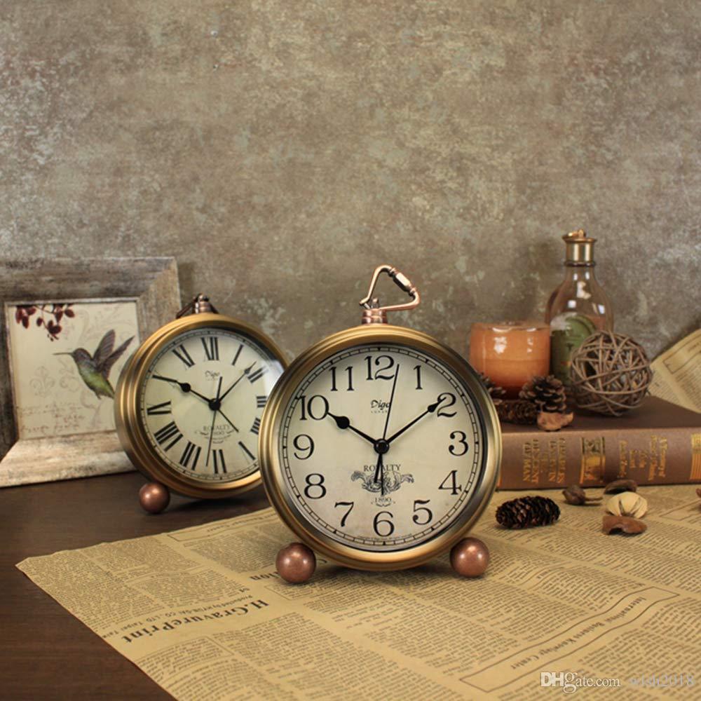 De Lado RetroSin EuropeoEstante Mesa MesaDespertadorEstilo TictacAl Reloj EscritorioRepisa xoBCde