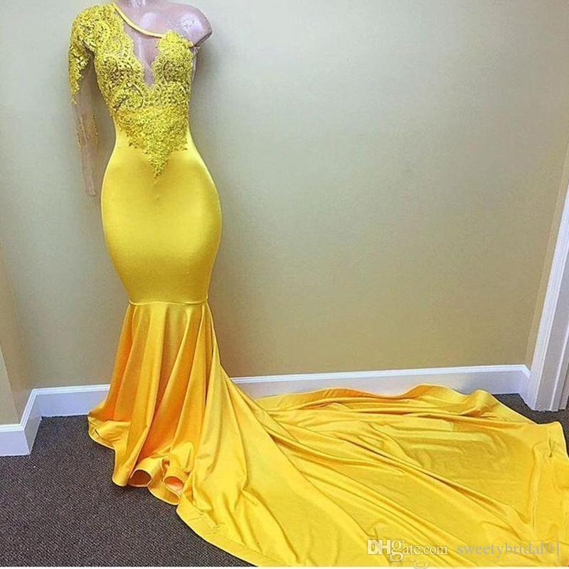 1921da914d Sexy Yellow One Shoulder Long Sleeve Black Girls Prom Dresses 2019  Appliques Lace Evening Dress Elastic Satin Mermaid African Party Gowns Plus  Size Prom ...