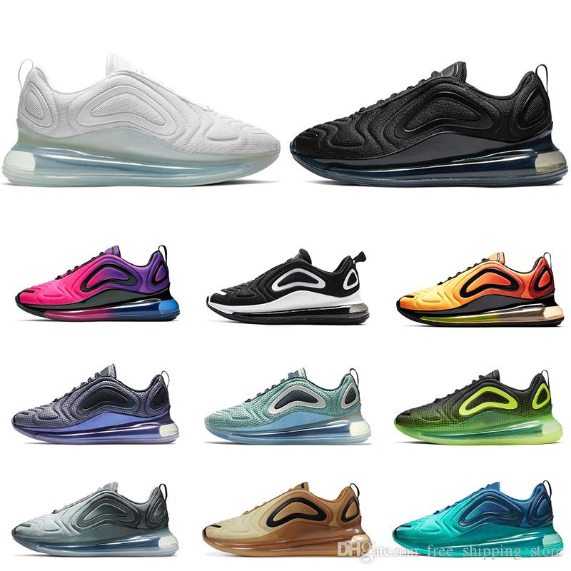 the latest 91e87 59cfe Acheter 2019 Nike Air Max 720 Hommes Femmes Chaussures De Course Triple Noir  Blanc GREEN CARBON CARBON GREY Mer Rose Northern Lights Mens Formateur Mode  ...