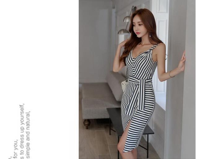 Summer Wear New Korean Temperament V Collar Harness Striped Slim Split Backless Dress High Waisted Skirt 4 Sizes A0090