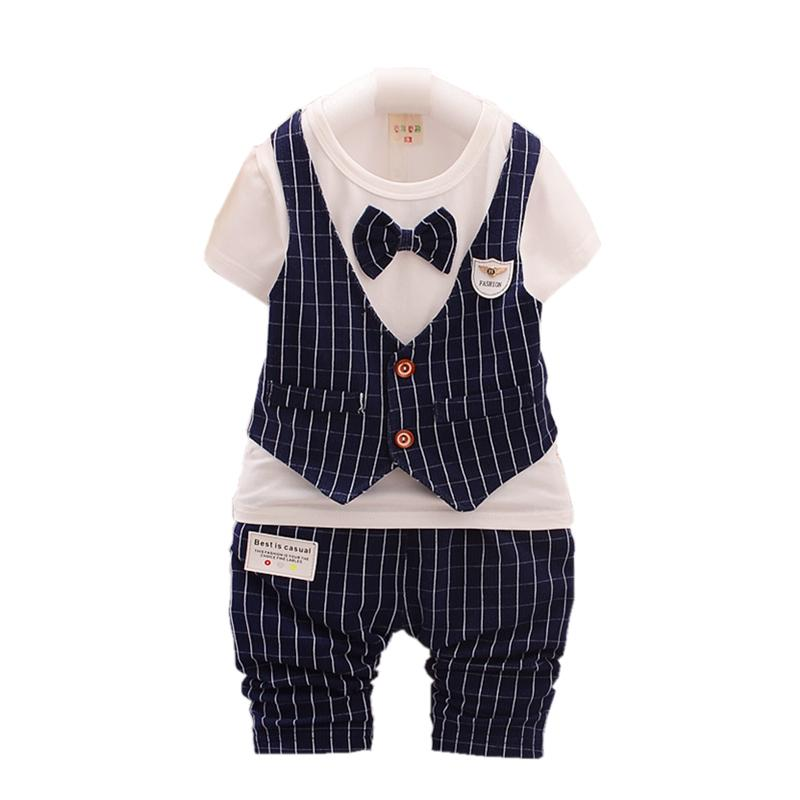 28133158440df Acheter Enfants Garçons Filles Vêtement De Mode Été Bébé À Manches Courtes Faux  Gilet T Shirt Pantalon   Ensembles Enfants Angleterre Style Vêtements ...