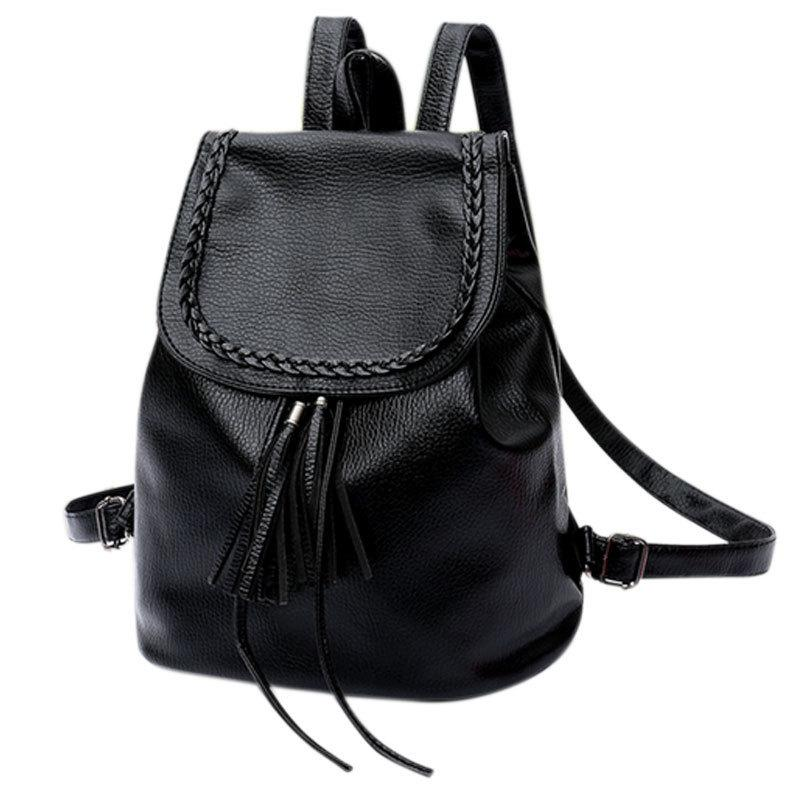 57107c31b4 Fashion Korean Women Casual Backpack Leather Tassels Solid Color Drawstring  Bags Big Capacity Girls School Shoulder Bag Fab Laptop Rucksack Backpacks  For ...