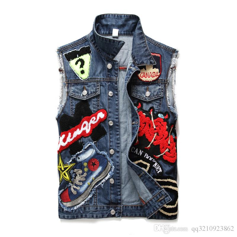 Men s and women s tops denim jeans jacket washed custom logo back print  long-sleeved warm jacket autumn and winter wear