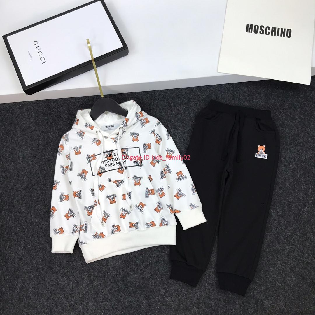 Children's hooded sets kids designer clothing bear pattern hoodie + sweatpants 2pcs autumn new boys and girls hooded sports sets