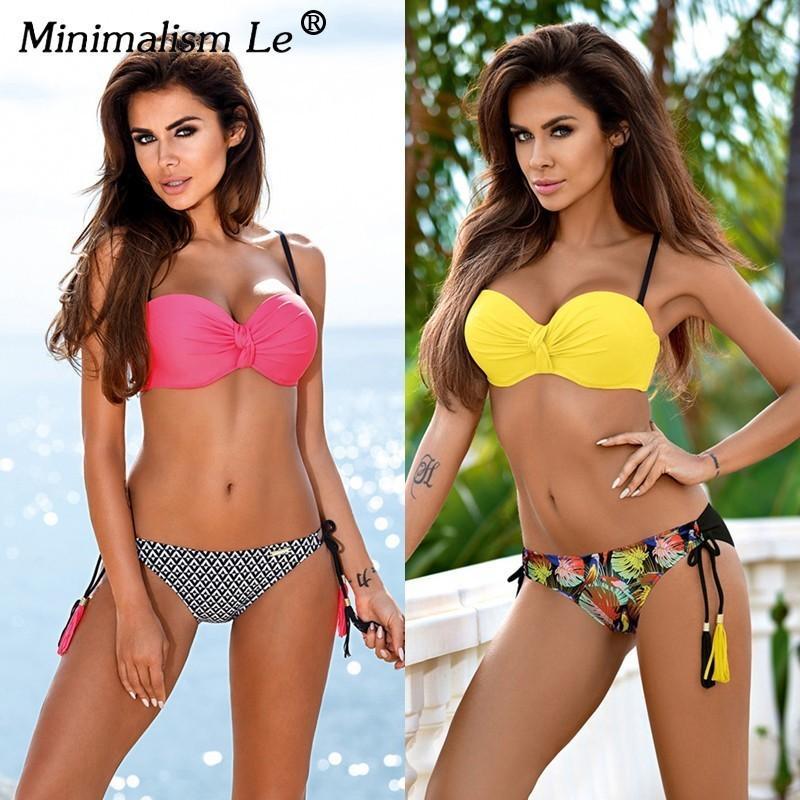 792a1a453ce2 Minimalismo Le Sexy Bikinis Traje de baño 2018 Bikini con traje de baño  push-up para mujer Ropa de playa Estampado Traje de baño vintage Halter ...