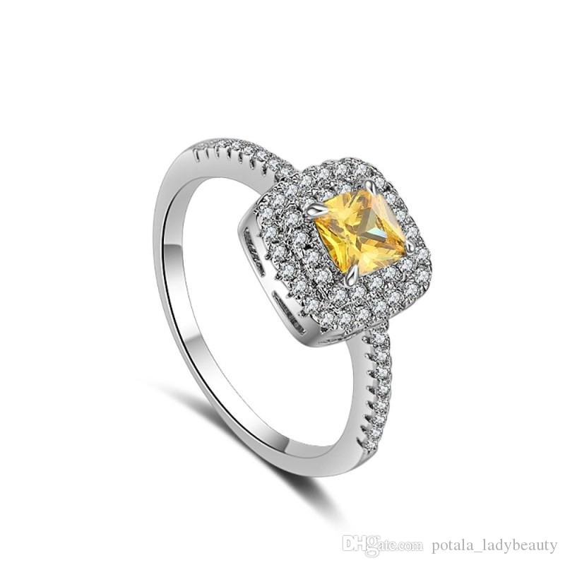 Charming Wedding Solitaire Rings Yellow Square Cubic Zircon Platinum Plated Fashions Love Designer Jewelry For Women Ring Accessories Gifts