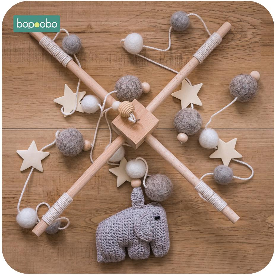 Bopoobo 1 set Silicone Beads Baby Mobile Beech Wood Bird Rattles Wool Balls Kid Room Bed Hanging Decor Nursing Children Products Y200111