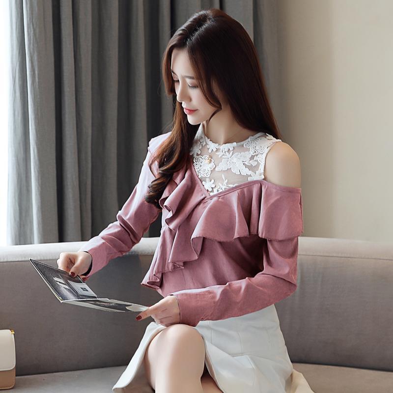 pretty nice 48a4a a517f blusas mujer de moda 2019 donne primaverili top e camicette magliette sexy  donna cava camicie a maniche lunghe dietro la spalla 1954 50