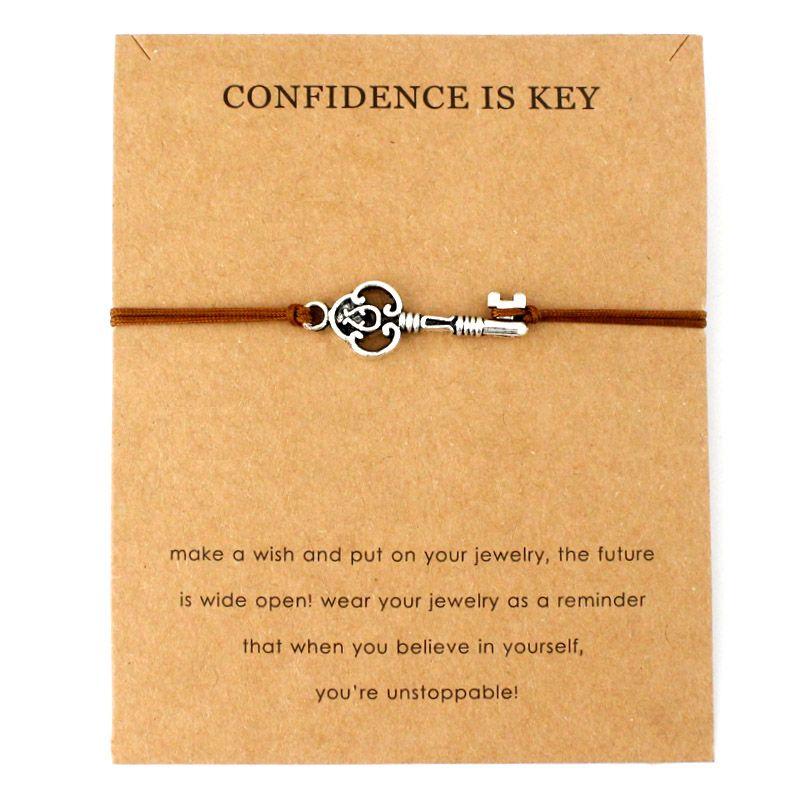 Confidence is Key Four Leaf Clover Baby Tai Chi Angel Wings Karma Balance Lock Horseshoe Wishbone Charm Bracelets for Women