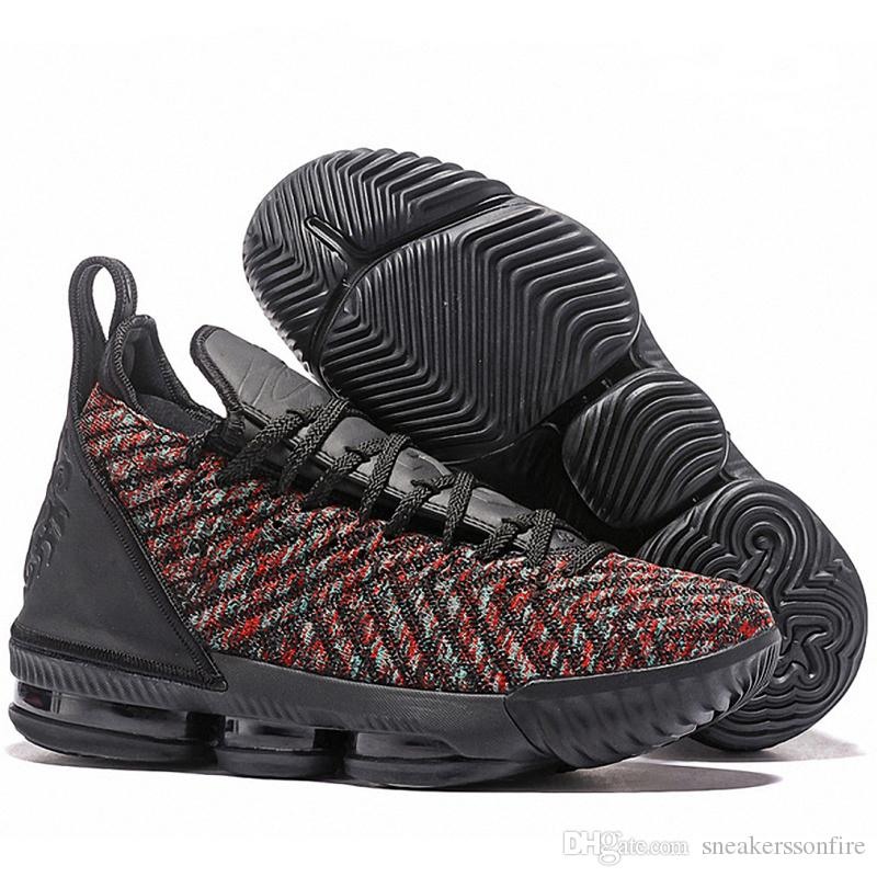 bc1caccc83f589 2019 Latest Lebron 16 Mens Basketball Shoes Black Multi Color James 16 XVI  Best Quality Trainers Sports Designer Sneakers Outlet From Sneakerssonfire