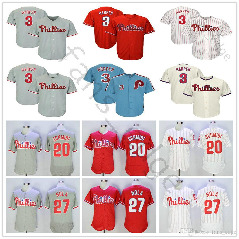 16b9c8865 2019 2019 New New Mens Phillies 3 Bryce Harper Jersey Red Stripe White Grey  7 Maikel Franco 20 Mike Schmidt 27 Aaron Nola Baseball Jerseys From ...