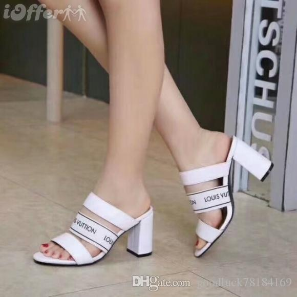 A top luxury designer new women's leather high heels sandals banquet wedding shoes sexy dress with box slippers