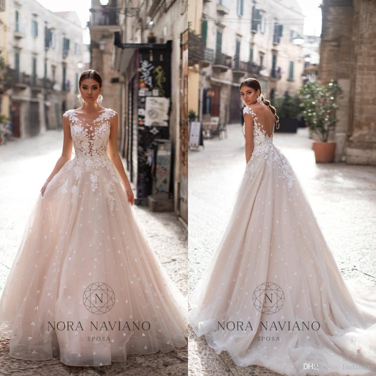 2020 Beach A Line Wedding Dresses Plus Size Lace Appliqued Bridal Gowns Vestidos De Novia Backless Beach Wedding Dress