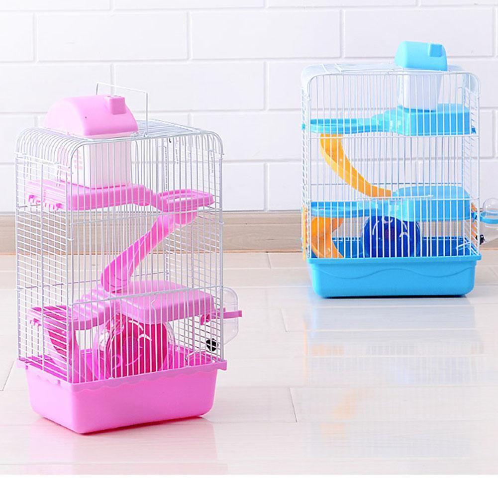 cheap amazing selection newest Adeeing 3 étages Pet Hamster Cage Luxury House Souris Portable Maison  Habitat Décoration Q190603