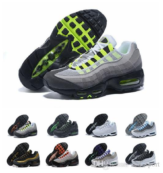 best cheap 527be 1813b 2019 New 95 20th Anniversary Neon Mens Running Shoes Sports Designer 95s  Men Trainers Zapatos Sneakers Chaussures Size 12 Chaussures 95 Designer Shoes  95 ...
