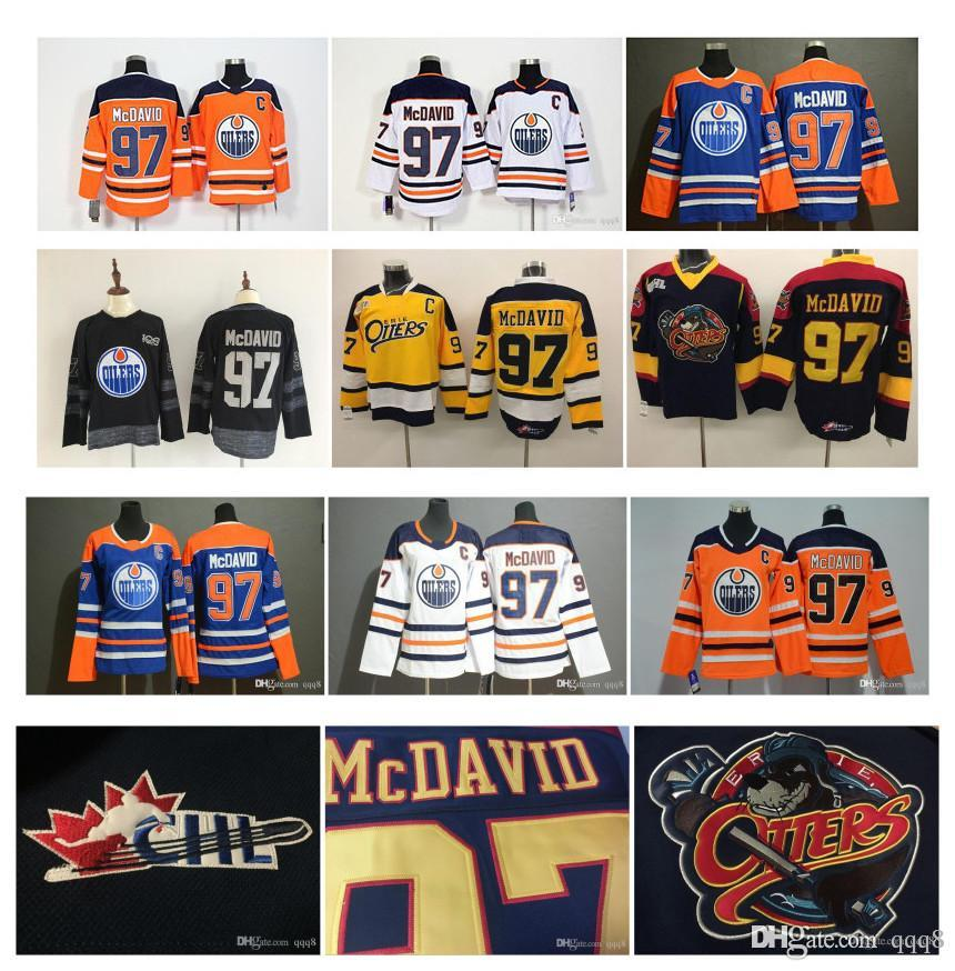 sports shoes 7e341 3de94 NHL Edmonton Oilers Connor McDavid Jersey Erie Otters 97 Connor McDavid Men  Kids Women White Blue Orange Yellow Black OHL COA Hockey Jersey