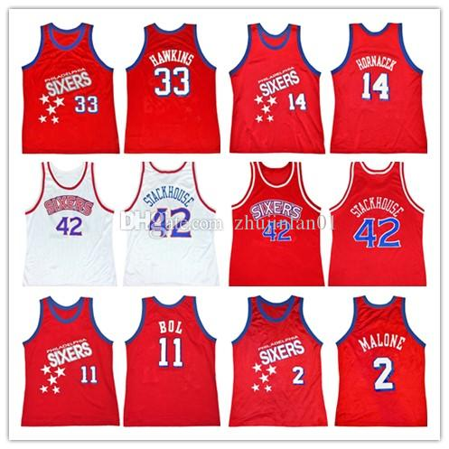 buy popular ecd7f 58f38 Sixers Hersey Hawkins Jeff Hornacek Jerry Stackhouse Manute Bol Moses  Malone Rick Mahorn Basketball jersey Customize any name and number