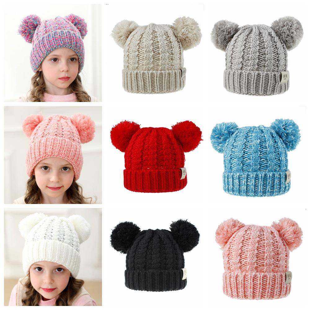 Winter Kids Knitted Hat Girls Baby Warm Pom Pom big Fur ball Wool Hat Ladies Skull Beanie Solid Crochet Ski Outdoor Caps LJJA3087