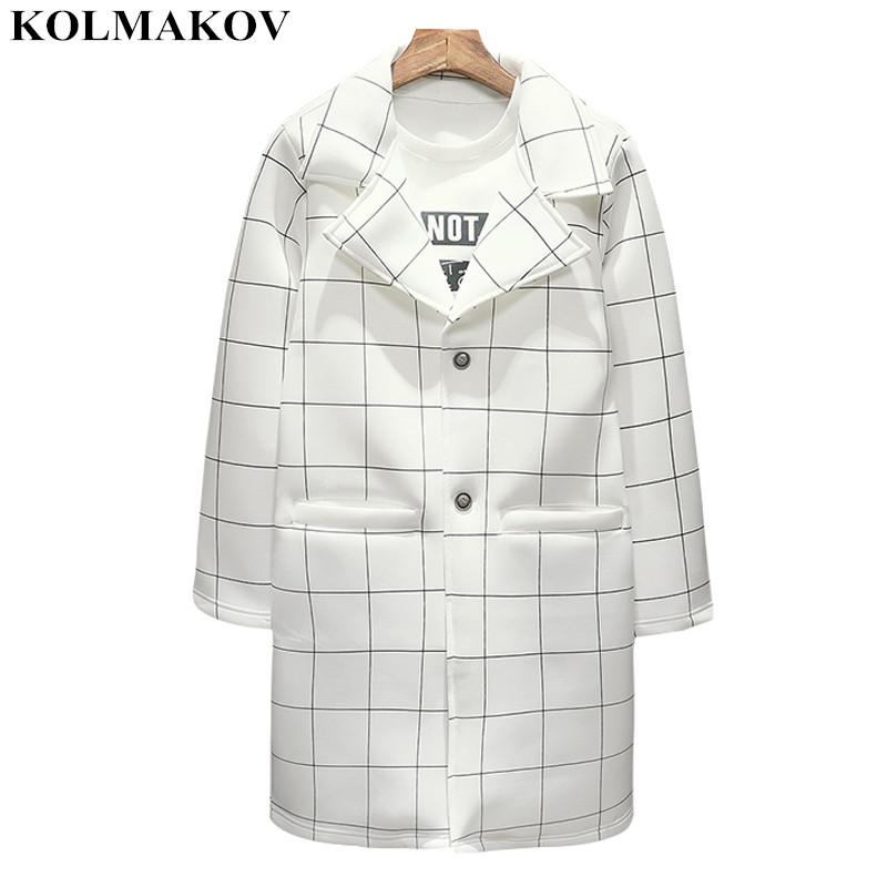 edfbb9cdbb5b 2019 KOLMAKOV New Men S Clothing Mens Plaid Windbreakers Spring Men S Trench  Coats White Cotton Coat Men M 3XL Hot Sale Outerwear From Jilihua