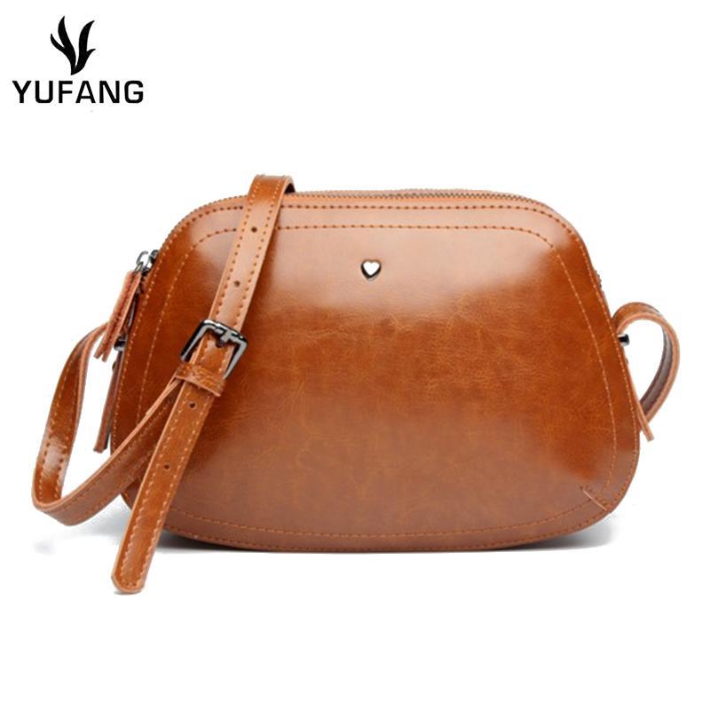 2019 Fashion YUFANG Retro Women Mini Bag Genuine Leather Female Crossbody Bag  Fashion Oil Wax Messenger Bag Ladies Fasion Party Package White Handbags ... 5320ea84bf