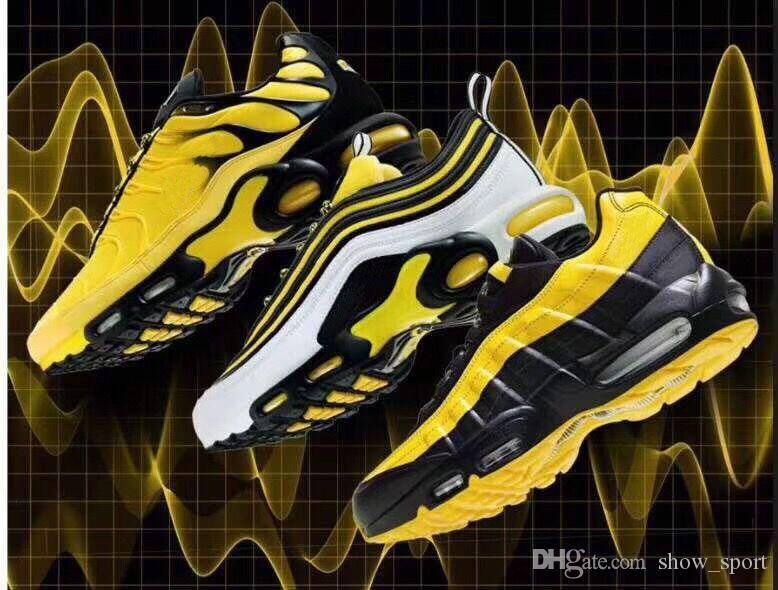 newest cd143 44eb5 Compre Nike Air Max 97 Nuevo 97 95 TN Plus Para Hombre Diseñador De Mujer Zapatos  Para Correr Amarillo Negro Hombres Mujeres Air Frequency Trainers Desinger  ...