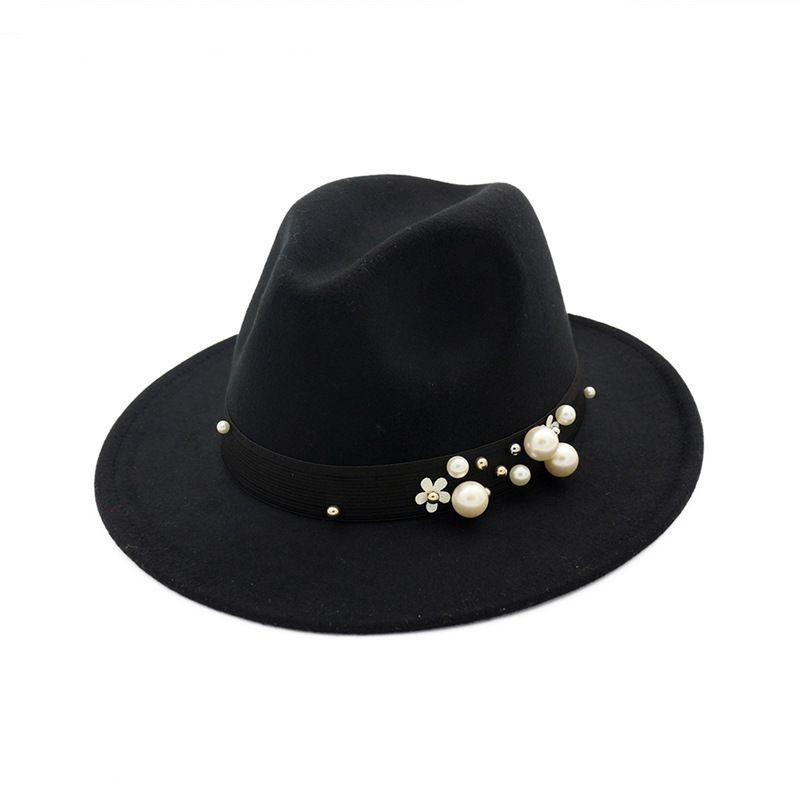 f642b16532c Fashion Handmade Felt Fedora Jazz Hat Cap Women Wide Brim Hats Jewelry  Decor Ladies Trilby Derby Formal Hats For Female Beach Hat Church Hats From  Gslyy0712 ...