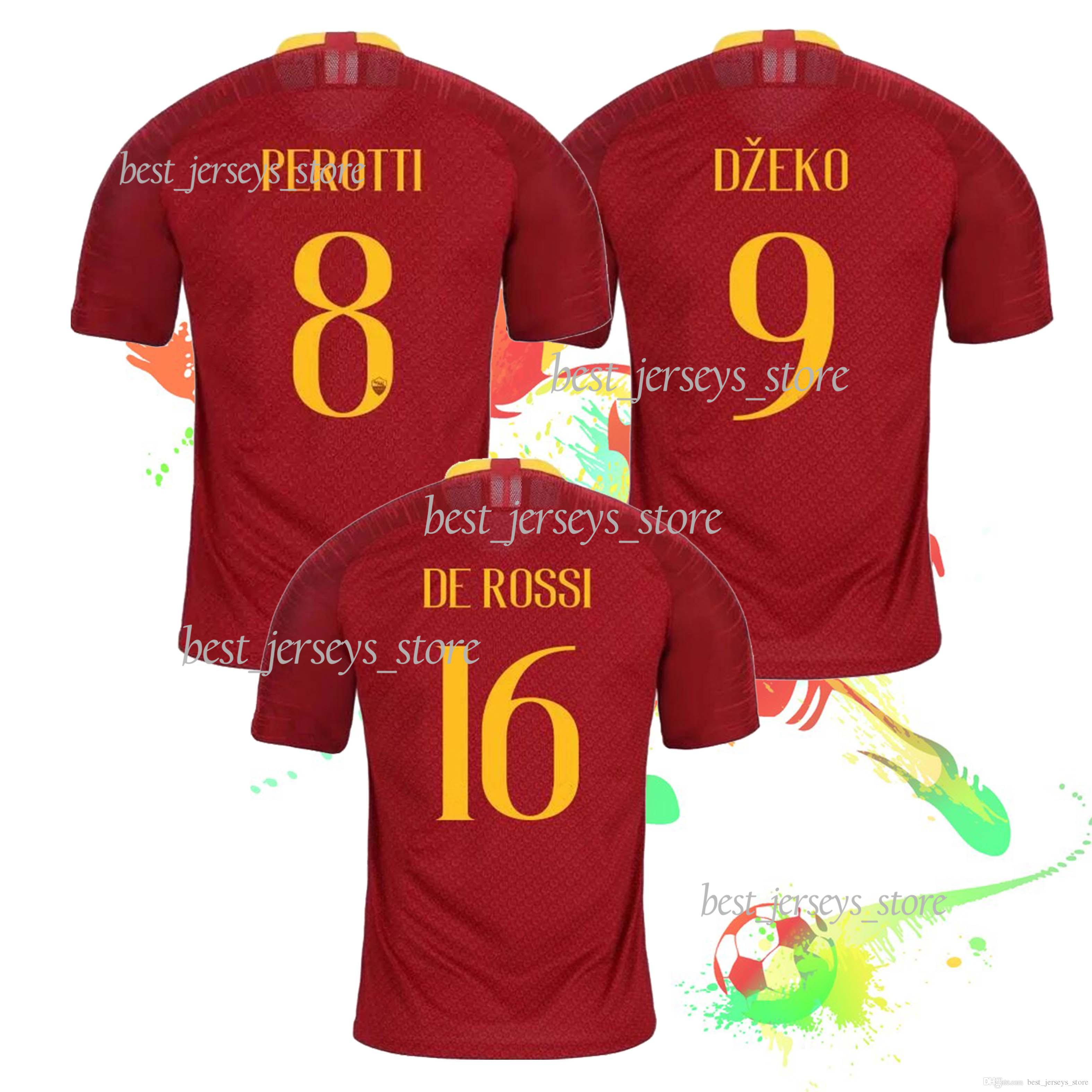 purchase cheap 5582a 5fb0d DE ROSSI 2019 TOTTI Roma home Soccer Jersey A.S.Roma Soccer Shirt  Customized DZEKO EL SHAARAWY club team Football uniform