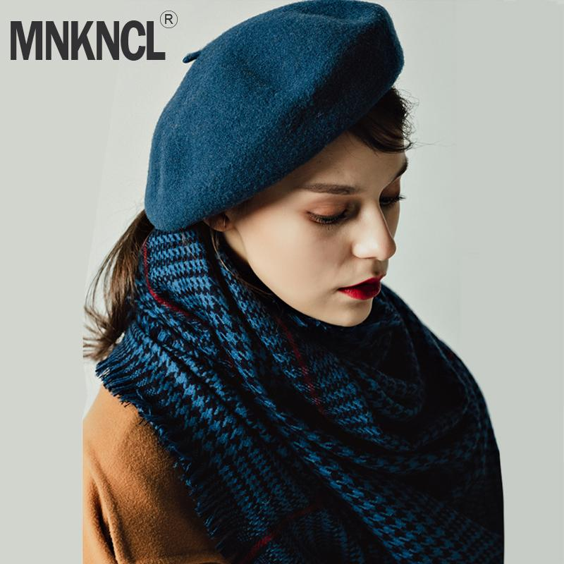 Compre MNKNCL Boina De Lana Para Mujer Sombrero De Invierno Para Mujer  Gorra Plana 100% Sombrero De Cachemira Lady Girl Boinas Hembra De Hueso  Tocas Pintor ... cba1dc5936d