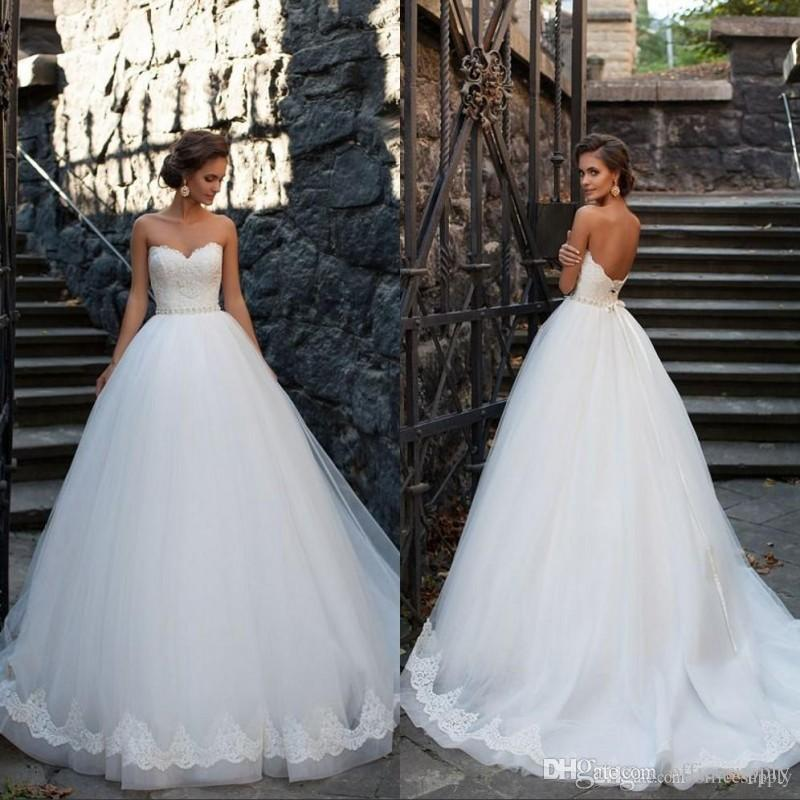 Discount 2019 Princess Puffy Ball Gown Wedding Dresses