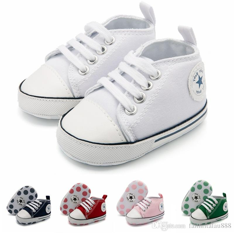 76460538b945 2019 Wholesale Baby Shoes Boys Girls Spring Autumn Casual Toddler Shoes  Infant Soft Soles First Walkers Lace Up Canvas Newborn Shoes White 0 18M  From ...