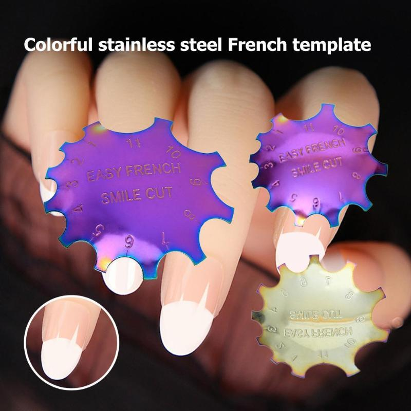 Easy French Line Edge Crystal Nail Cutter Stencil Template Trimmer Clipper Styling Forms Manicure Nail Art Tools christmas gift