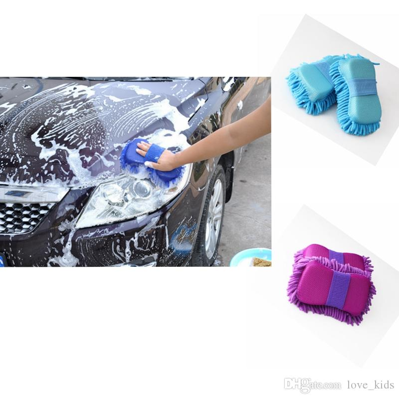 Car Sponge block hand soft towel microfiber chenille washing solid color coral fleece auto clean tool