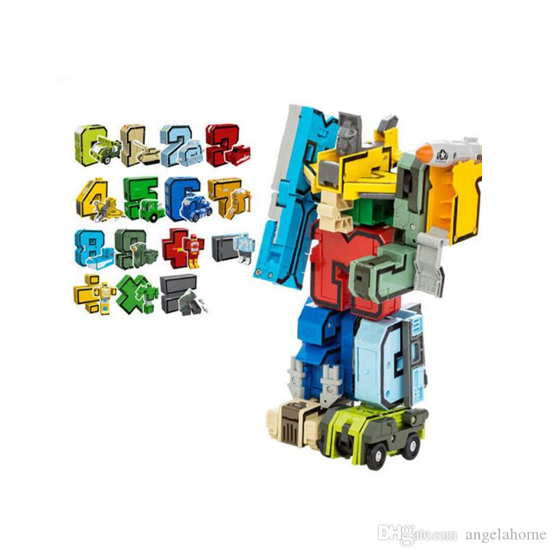 Creative Block Transformation Robot Toy Bricks Digit Number Symbol Fighter Warship Figures Building Blocks Creator Toys Gifts