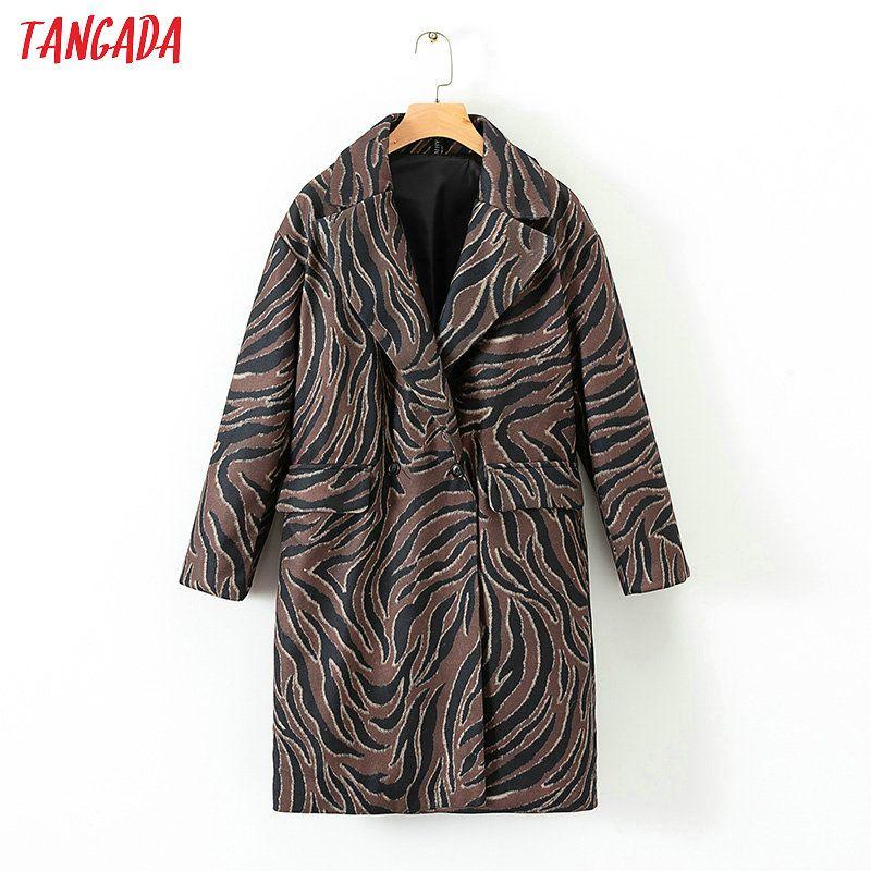 Beförderung wähle das Neueste Factory Outlets Tangada Frauen Wild Print Taschen Wintermantel Zebra-Muster lange Vintage  Größe lange Damen Mantel retro Outwear XD559