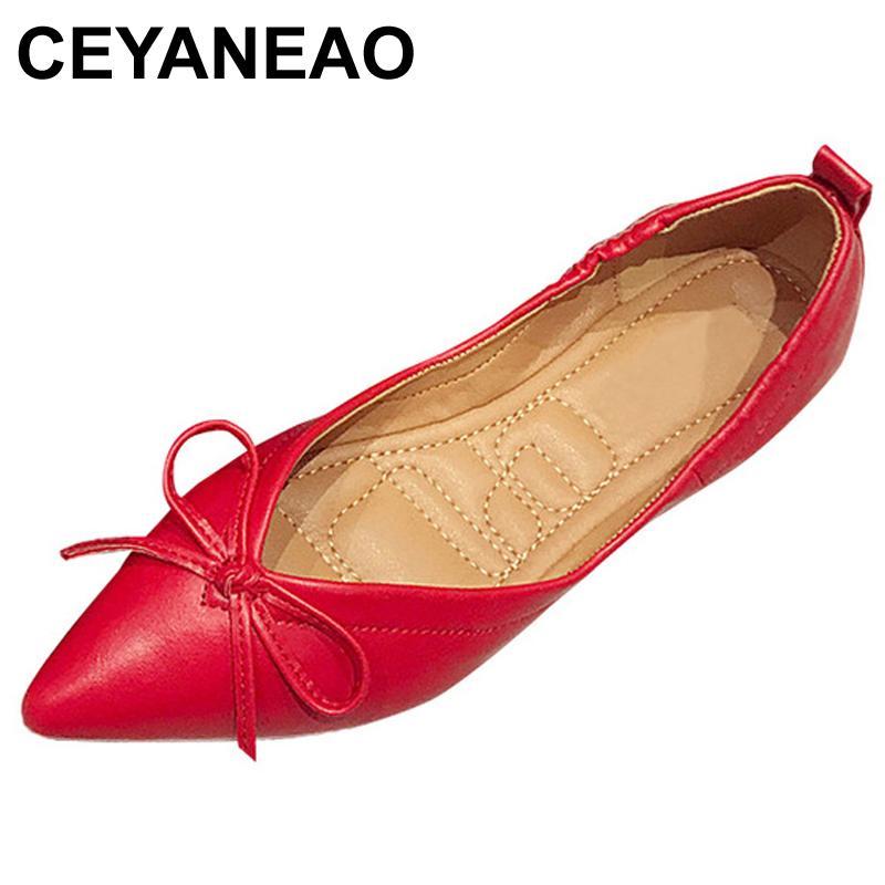 09038329 Compre CEYANEAO 2018 Pisos De Cuero Suave Zapatos Mujer Zapatos De Barco Punta  Estrecha Pisos De Mujer Rojo Negro Oficina Señoras Marca Calzado E1097 A ...