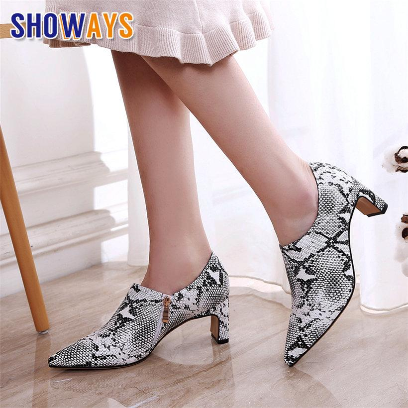e5e339a3070 Faux Snakeskin Women Pumps 6cm High Block Heels Red Bottom Pointed Toe  White Leopard Casual Party Office Sexy Lady Zipper Loafer