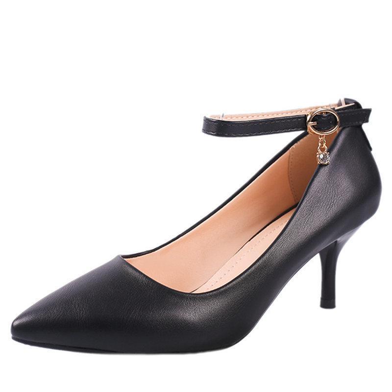 9b7c9a13d08400 Acheter Chaussures Taille Plus 32 40 2019 Nouvelle Boucle Pompes Femmes  D'été Travail Femme Femme Talons Hauts Super Simple Chaussures Pour Office  Lady De ...