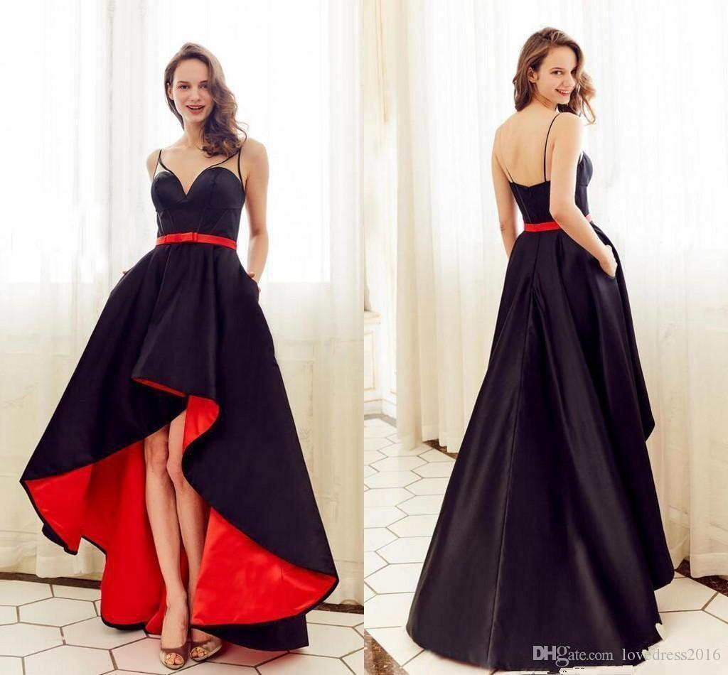 Modest Black Satin A Line High Low Prom Dresses with Pockets Spaghetti Straps Evening Gowns Sexy Back Maid of Honor Dress